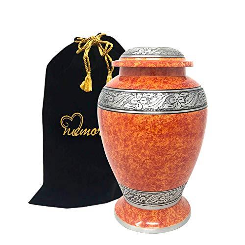 MEMORIALS 4U Bella Orange Stone Silver Cremation Urn - Solid Metal Sunset Orange Urn - Affordable Handcrafted Copper Orange Adult Funeral Urn - Large Urn Human Ashes Free Bag