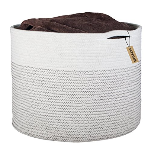 "INDRESSME Extra Large Storage Baskets Cotton Rope Basket Woven Baby Laundry Basket with Handle for Diaper Toy Cute Neutral Home Decor Addition Diaper Toy 17"" x 14.7"""