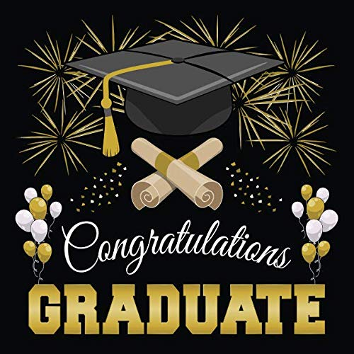 Graduation Guest Book: Congratulations Graduate GuestBook + Gift Log | Class of 2019 Graduation Party Memory Sign In Keepsake Journal | Black and Gold Cover