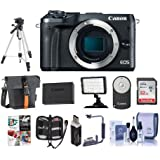 Canon EOS M6 24MP Mirrorless Digital Camera Black - Bundle With Holster Case, 32GB SDHC Card, Spare Battery, Tripod, Video Light, Cleaning Kit, Remote Controller, Software Package, And More