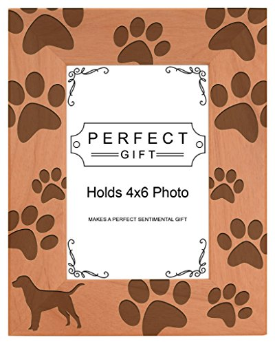 Gifts For All By Rachel Olevia Dog Lover Gift Labrador Retriever Paw Prints Natural Wood Engraved 4x6 Portrait Picture Frame Wood