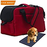 Pet Carrier, Airline Approved Soft Sided Travel Bag for Small Dogs and Cat Under Seat Portable & Foldable Animal Tote With Airy Windows Locking Zippers and Spacious Soft Pad for Puppies, Kitten Red
