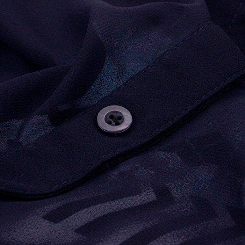 vovotrade La moda de gasa con cuello en V falso Vestido a rayas de dos colores de empalme Azul oscuro