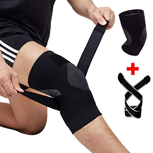 Venture Pal Knee Compression Non-Slip Sleeve with Detachable Strap- Best Knee Brace Support for Running,Soccer, Basketball,Gym – Perfect Treatment for Joint Pain Relief,Meniscus Tear,Arthritis