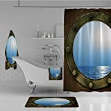 iPrint Bathroom 4 Piece Set Shower Curtain Floor mat Bath Towel 3D Print,Circular Window of Industrial Ship in Clear Sunny,Fashion Personality Customization adds Color to Your Bathroom.