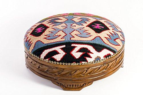 Carved Footstool - Vintage Kilim Rug Ottoman