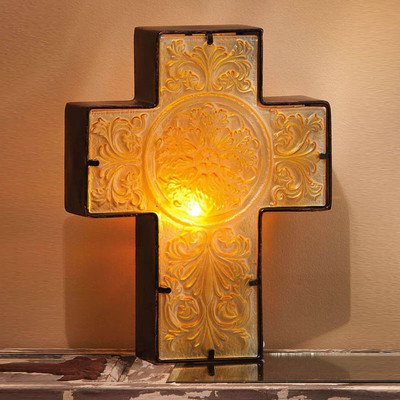 Tiffany Lamp Table Angels (Embossed and Hand Painted Glass and Metal Cross Table Lamp)