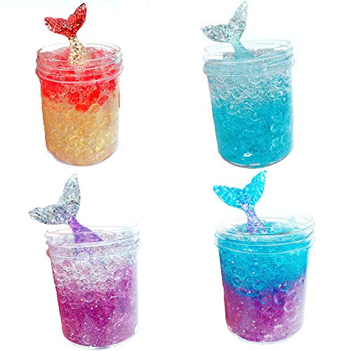 Fishtail Slime Newest Ice Crystal Slime-4 Pcs 120ml Mermaid Mud with Fishbowl Beads Fluffy Toy Scented Sludge Toy for Kids & Adults, Super Soft & Non Sticky