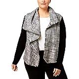Anne Klein Womens Plus Draped Casual Jacket Gray 18W