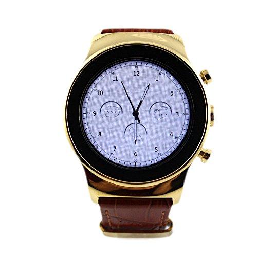SANOXY-LUX-SIM-WATCH-GLD Round Luxury Steel Smart Phone Watch, Gold by SANOXY