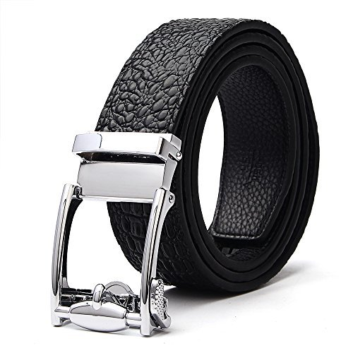 [XIANGUO Men's Automatic Buckle Crocodile Grain Leather Belts (43-44, Black)] (Crocodile Belt Strap)