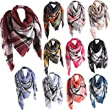 Plaid Scarfs for Women Hot Sale, deatu Clearance Ladies Teen Girl Fall Winter Color Stitching Long Shawl Soft Neck Scarf