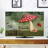 """LCD TV dust Cover Strong Durability,Mushroom,Picnic in Fantasy Garden Wood Table Poppy Flower Swing Teapot and Milk Splash Decorative,Multicolor,Picture Print Design Compatible 50""""/52"""" TV"""