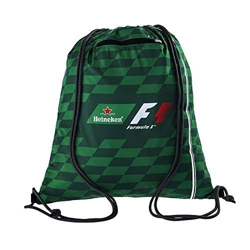 Heineken Formula 1 Drawstring Bag - Dark Green, Rope Handles Black Reversed Zipper