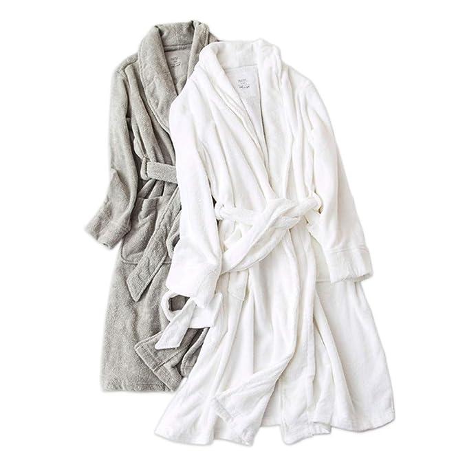 JYHTG Pijama Color Puro 100% Algodón Batas Mujeres Invierno Toalla Toallas Gruesas Batas De Baño Mujeres Parejas Casadas Boda Kimono Batas, XXL: Amazon.es: ...