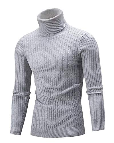 - Cameinic Mens Casual Slim Fit Turtleneck Pullover Sweaters Gray