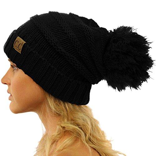 CC Oversized Super Big Slouchy Pom Pom Warm Chunky Stretchy Knit Beanie Hat Solid Black