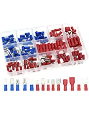 QTATAK 140Pcs Assorted Full Insulated U-Type Fork Red/Blue Terminal Set Electrical Wire Cable Crimp Spade Ring Connector Assortment Kit
