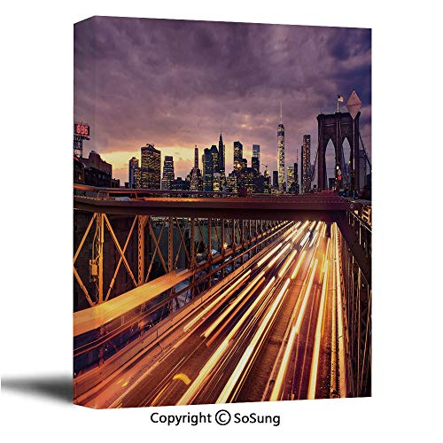 City Canvas Wall Art,Brooklyn Bridge at Night Car Traffic in New York United States Transport,Modern Living Room Office Wall Art Bedroom Decoration Ready to Hang,32x48 inch (Time Difference From New York To Las Vegas)
