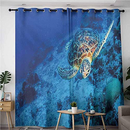 Living Room/Bedroom Window Curtains,Turtle Oceanic Wildlife Themed Photo of Sea Turtle in Deep Blue Waters Coral Reef Hawaiian,Blackout Window Curtain 2 Panel,W72x84L,Blue Orange -