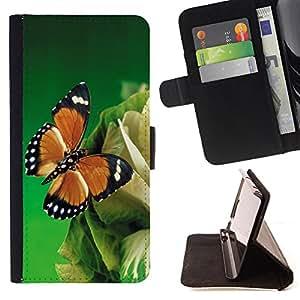 Devil Case- Estilo PU billetera de cuero del soporte del tir¨®n [solapa de cierre] Cubierta FOR Samsung Galaxy S6 Edge G9250 G925F- Butterfly Fly Beautiful Eye