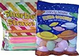 British retro sweets bundle two items flying saucers, sherbet straws