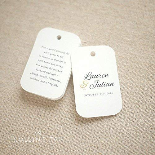 10 White Gift Tags Wedding Favour Personalised Bomboniere Five Sugar Almonds