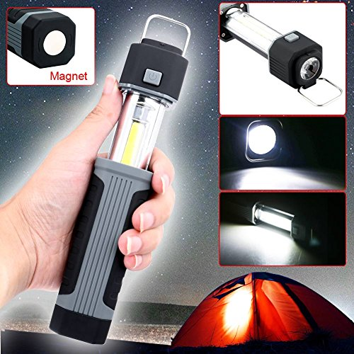2018 Newest Stretchable Work Light Flashlight, RuiFengShun Multifunction Dual Modes Hand-held Flash Lights, Cob LED with Magnet Base for Emergency, Car Repairing, Workshop (No AAA Battery )