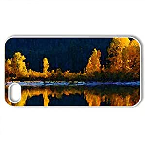 Autumn Scenery - Case Cover for iPhone 4 and 4s (Watercolor style, White)