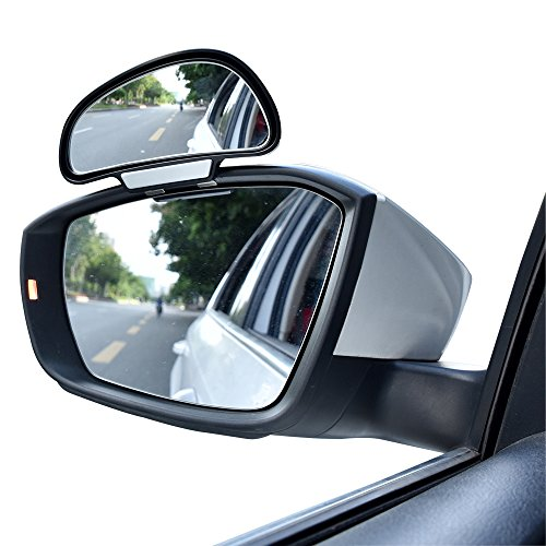 0 Degree Rotation Wide Angle Side Rear Mirrors Blind Spot Snap Way Rearview Mirror Universal (Left, Black) ()