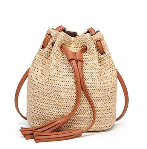 Vacation Girls Women Retro Beach Bag Woven Brown Crossbody Bucket Purse Handmade Shoulder Drawstring Straw xwZSHdn