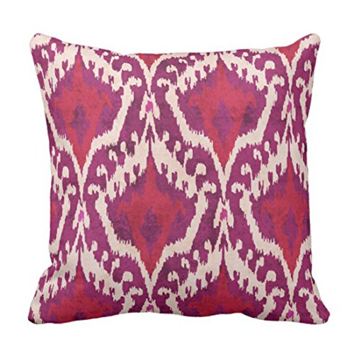 Emvency Throw Pillow Cover Cute Ethnic Chic Colorful Red and Purple Ikat Tribal White Batik Decorative Pillow Case Home Decor Square 18 x 18 Inch Pillowcase