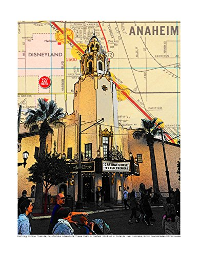"Carthay Circle Theatre, California Adventure Theme Park, Anaheim, Disneyland Fan Art, souvenir fine art print, original map print, 8.5"" x 11"" unmatted and unframed."