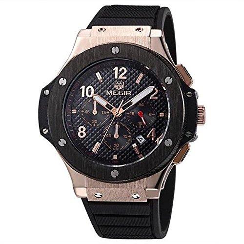 2018 Luxury Men Watch, Rubber Date Chronograph Analog Quartz Wristwatch by Swiss Collection