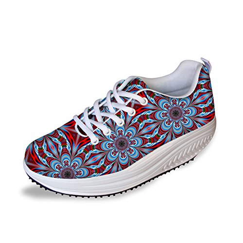 Bigcardesigns Red Floral Printed Workout Sneakers Women Wedge Fitness Shoes Toning(Size US 6=EUR 37)