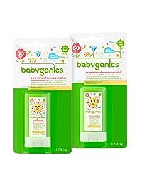 Babyganics Mineral-Based Baby Sunscreen Stick, SPF 50, .47oz Stick (Pack of 2)