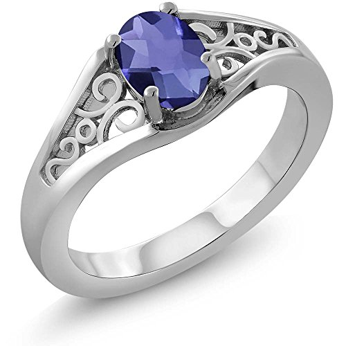 Iolite Ring (0.65 Ct Oval Checkerboard Blue Iolite 925 Sterling Silver Ring)