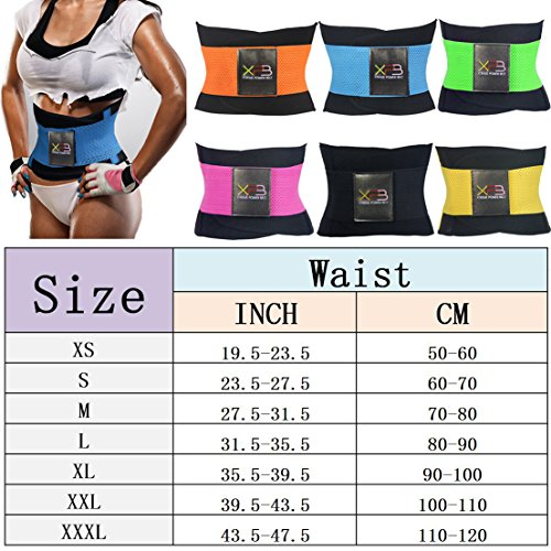 YonBii Breathable Waist Shaper Adjustable Cincher Belt Blue Elastic Workout Sportswear for Women XS-3XL Blue