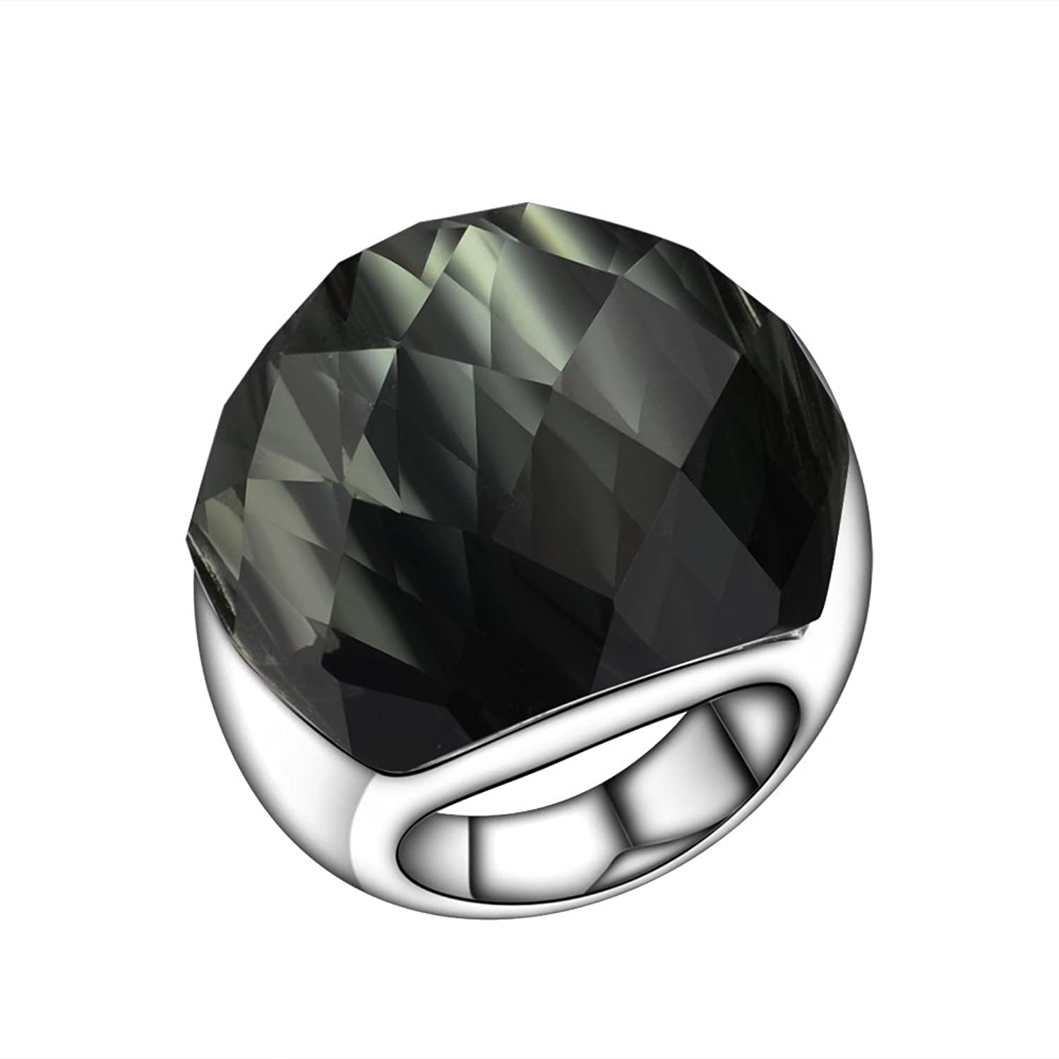 Dark Black Big Nature Stone Cubic Zirconia Stainless Steel Engagement Band Ring