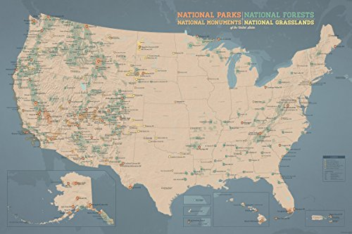 US National Parks, Monuments & Forests Map 24x36 Poster (Tan & Slate ...