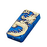 DaLanZom Chinese Dragon USB Rechargeable Windproof Electric Plasma Arc Lighter , Flameless Electronic Pulse Arc Cigarette Lighter Set with USB Charging Cable (Dark Blue)