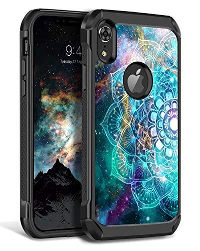 "BENTOBEN Case for iPhone XR, Mandala Nebula Slim Shockproof Hard PC Soft Bumper Dual Layer Hybrid Luminous Noctilucent Protective Cover for iPhone XR 6.1"", Mandala in Galaxy"