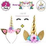 DaisyFormals Unicorn Cake Topper & Unicorn Headband Set for Unicorn Party Supplies
