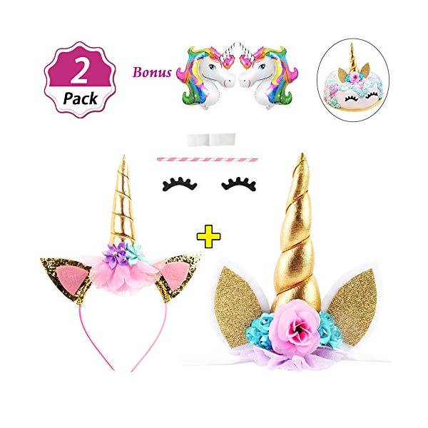 DaisyFormals Unicorn Cake Topper Set with Shiny Gold Unicorn Headband, Unicorn Party Supplies for Birthday Party, Baby Shower, Unicorn Party Decoration with 2 Free Unicorn Balloons 3