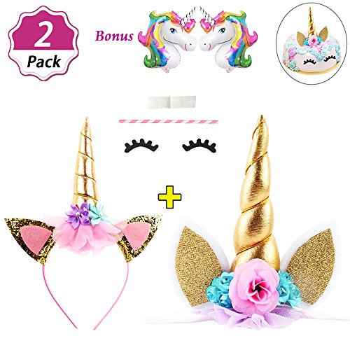 DaisyFormals Unicorn Cake Topper Set with Shiny Gold Unicorn Headband, Unicorn Party Supplies for Birthday Party, Baby Shower, Unicorn Party Decoration with 2 Free Unicorn Balloons