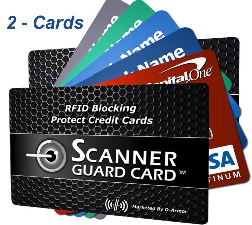 RFID Wallet Blocking Cards Secure Credit Cards from Identity Theft - Fits into Your Credit Card Holder Wallet Case or Sleeve - Sandwich Credit Cards between 2 Block RFID Cards - Best Credit Card Protector that Fits in Any Wallet (2-cards)