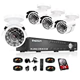 TMEZON 16Channel CCTV Security Surveillance Camera System 16CH HDMI P2P DVR 8x 800TVL Night Vision Bullet Hi-Resolution Indoor/Outdoor Security Cameras with IR Cut 1TB HDD
