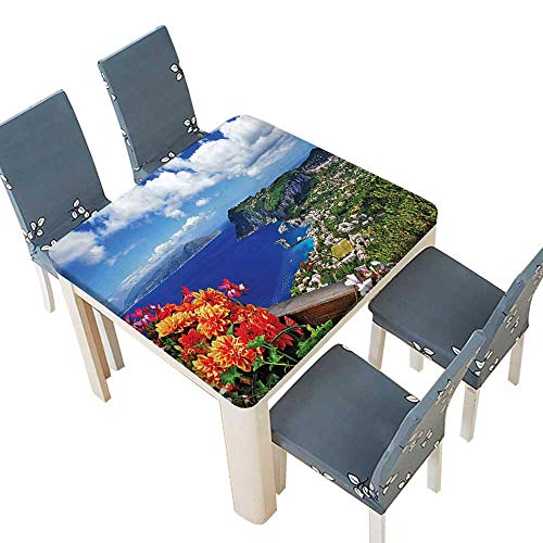 Table in Washable Polyeste Decor Collection Scenic Capri Island Italy Mountain Houses Flowers View from Balcony View Banquet Wedding Party Restaurant Tablecloth 37.5 x 37.5 INCH (Elastic Edge) -