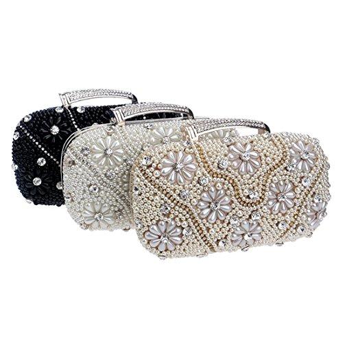 Borsa pochette perlato oro sera moda banchetto Fly pranzo da colore nero da da borsa borsa R1Rpxq