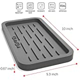 Silicone sink tray - sponges, soap dispenser, cleaning brush and dishwashing scrubbers organized holder (Grey Medium)